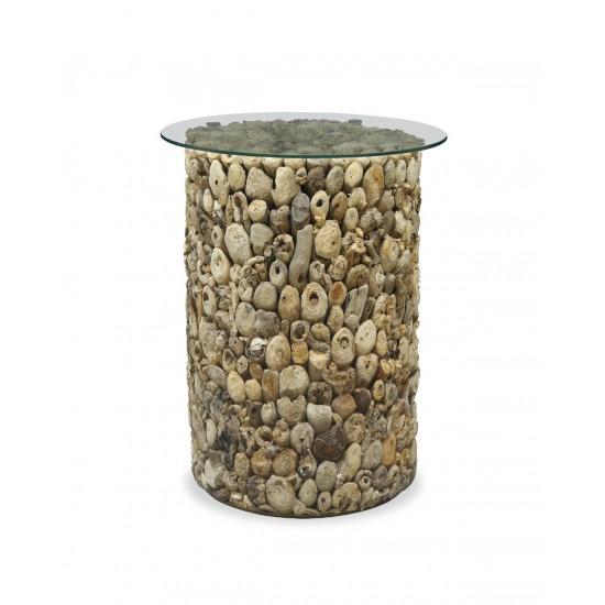 Tall Circular Driftwood Lamp Table